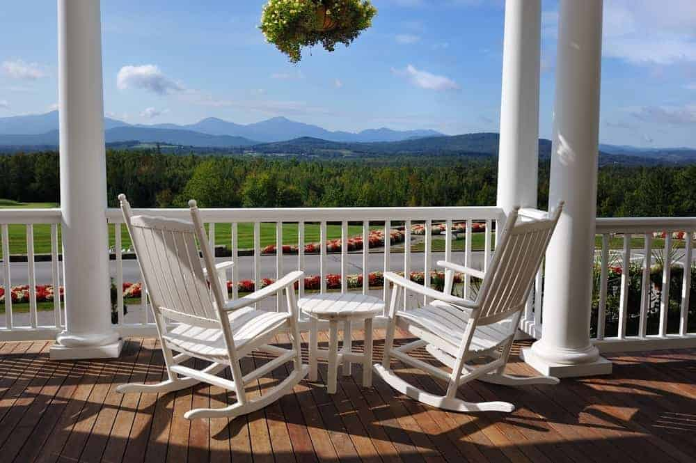 Two rocking chairs looking at moutnains from Smoky Mountains bed and breakfast
