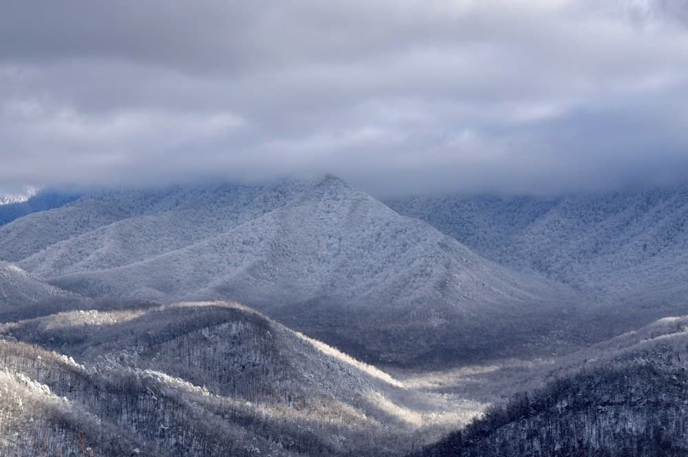 Enjoying the snow covered mountains is one of the best things to do in Gatlinburg TN in January.