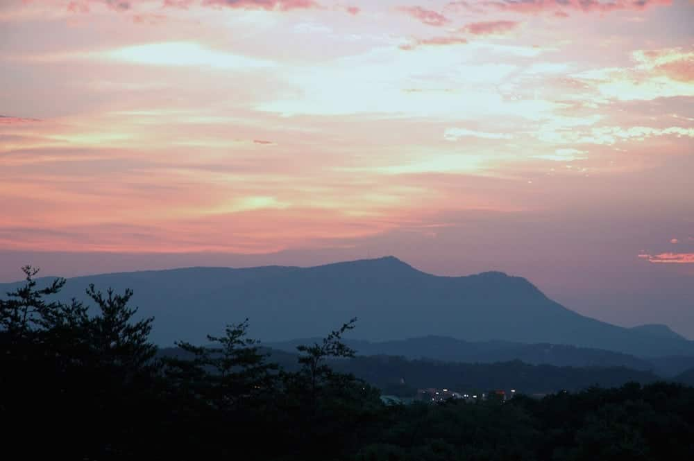 Beautiful sunrise over Bluff Mountain in Pigeon Forge.