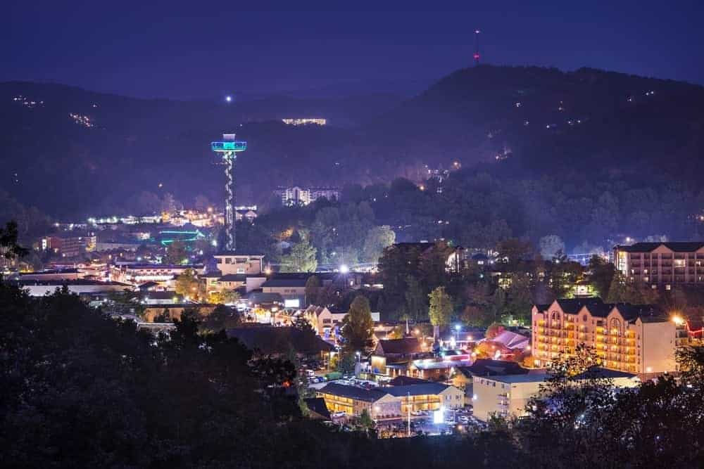The glittering lights of Gatlinburg at night.