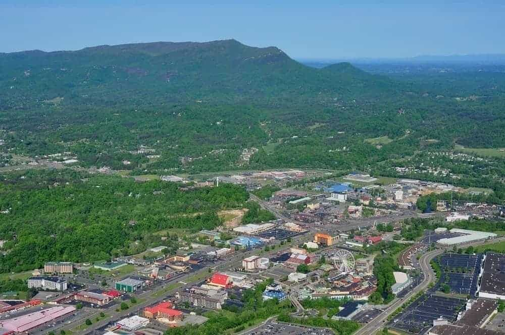Stunning aerial view of Pigeon Forge.