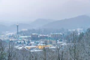 Gatlinburg covered in snow in the winter