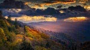 Ray of sunlight shining down on the Smoky Mountains at dawn
