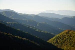 View of the Great Smoky Mountains from Newfound Gap Road