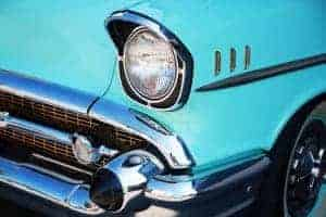 close up on bumper of classic car at car show in Pigeon Forge