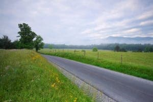 Road running through Cades Cove in the Great Smoky Mountains