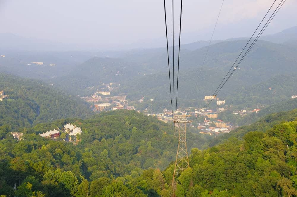 View from the Gatlinburg Aerial Tramway at Ober Gatlinburg
