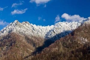 View of the Smoky Mountains with high elevation snow