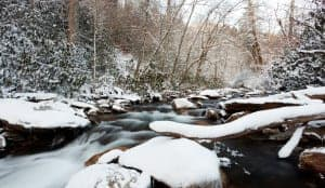 snow covered river in the Smoky Mountains