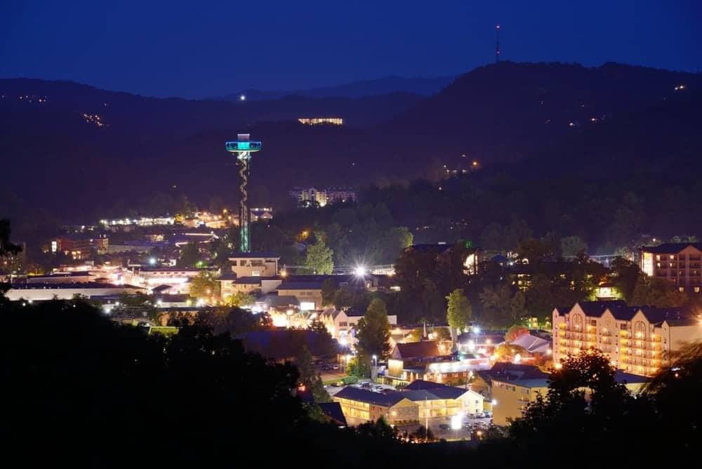 Nighttime view of Gatlinburg TN