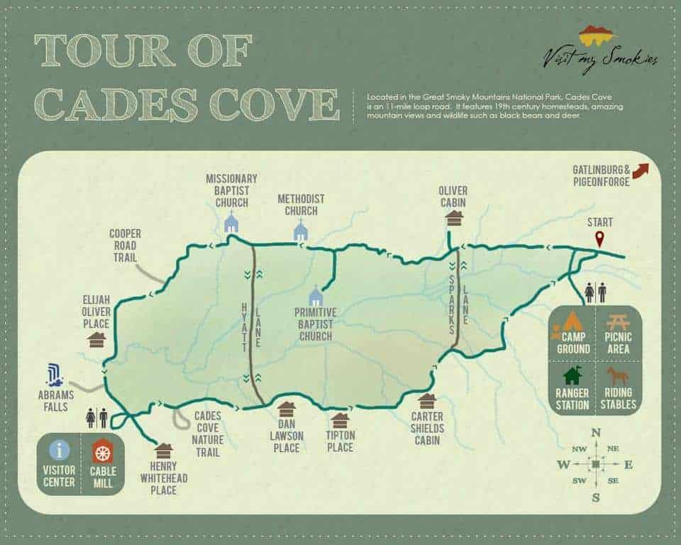 Tour of Cades Cove map