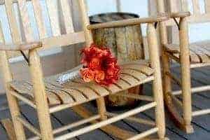 rocking chair on front porch at Smoky Mountains bed and breakfast