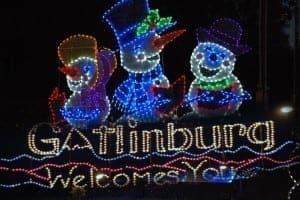 Photo of a Christmas lights display in Gatlinburg.