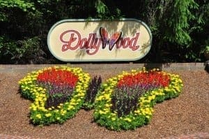 The Dollywood sign with signature butterfly flower arrangement below.
