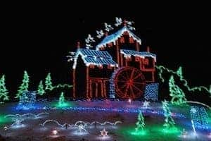 Winterfest Christmas light display in Pigeon Forge depicting The Old Mill.