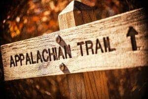 A sign pointing the way to the Appalachian Trail.