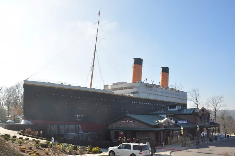 Photo of the outside of the Titanic Museum in Pigeon Forge TN.