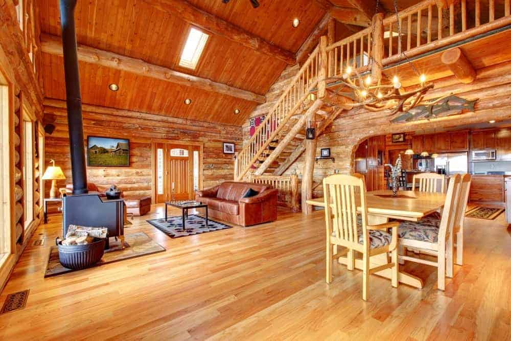 Living room and dining area in Gatlinburg cabin