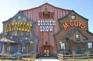 Photo of the outside of the Hatfield and McCoy dinner show in Pigeon Forge TN