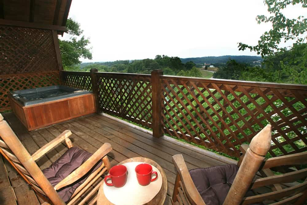 Hot tub on covered deck w/view