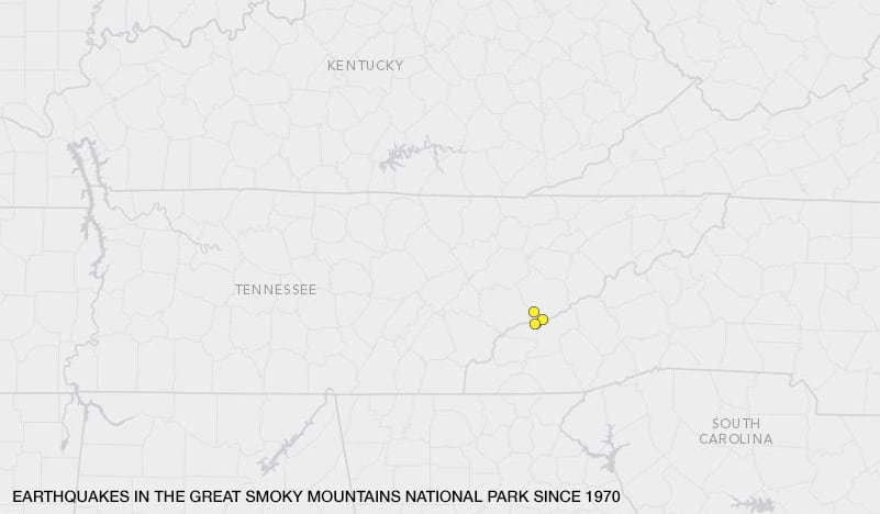 A map of earthquakes in the Great Smoky Mountains National Park since 1970.