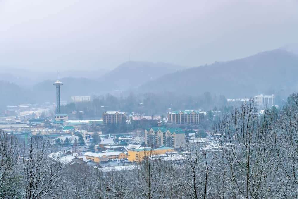 Winter snow over Gatlinburg TN