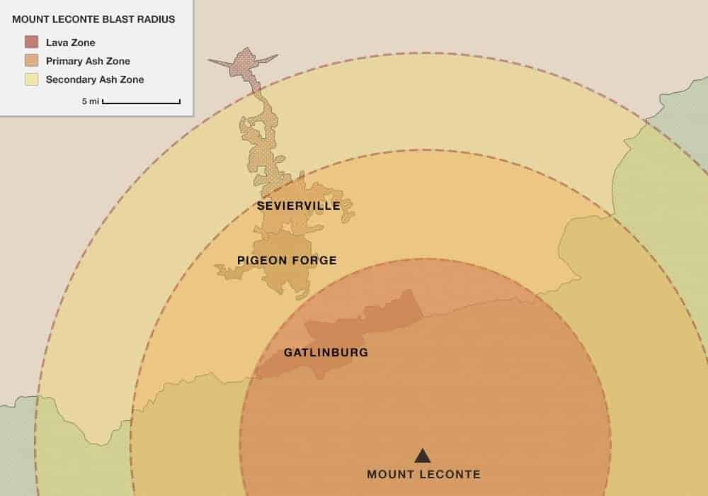 Map detailing the blast radius for the Mount LeConte volcano in the Smoky Mountains.