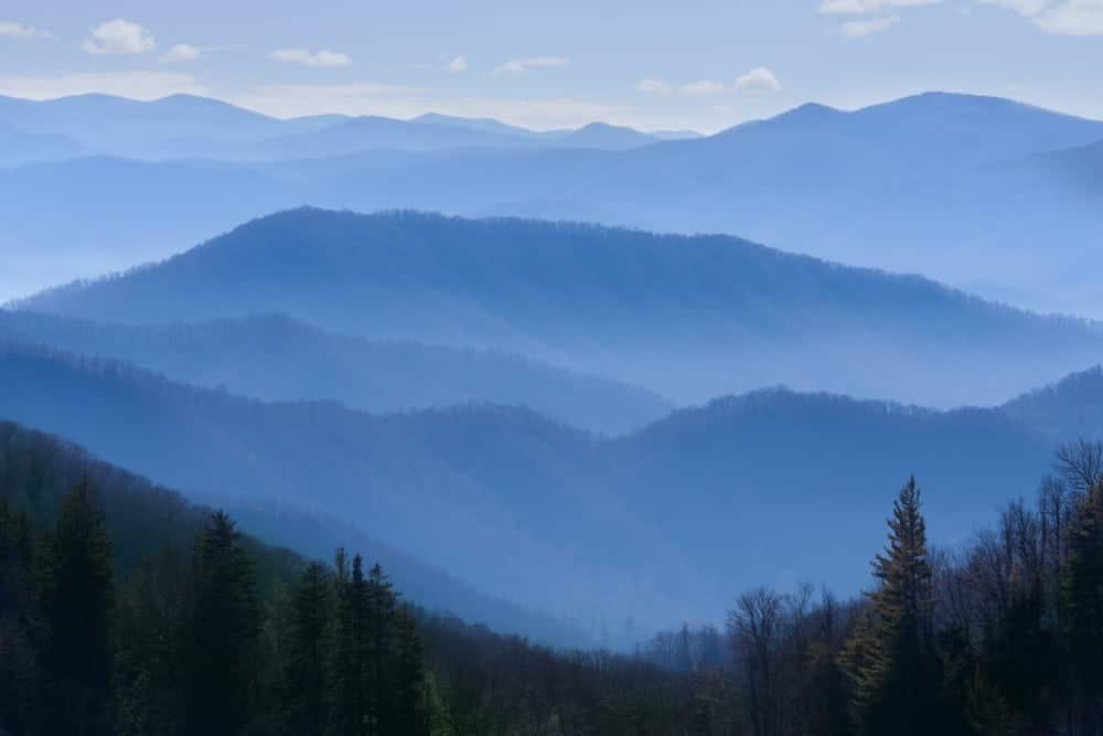 The Smoky Mountains looking blue in a scenic photo.