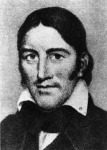 A portrait of Davy Crockett.