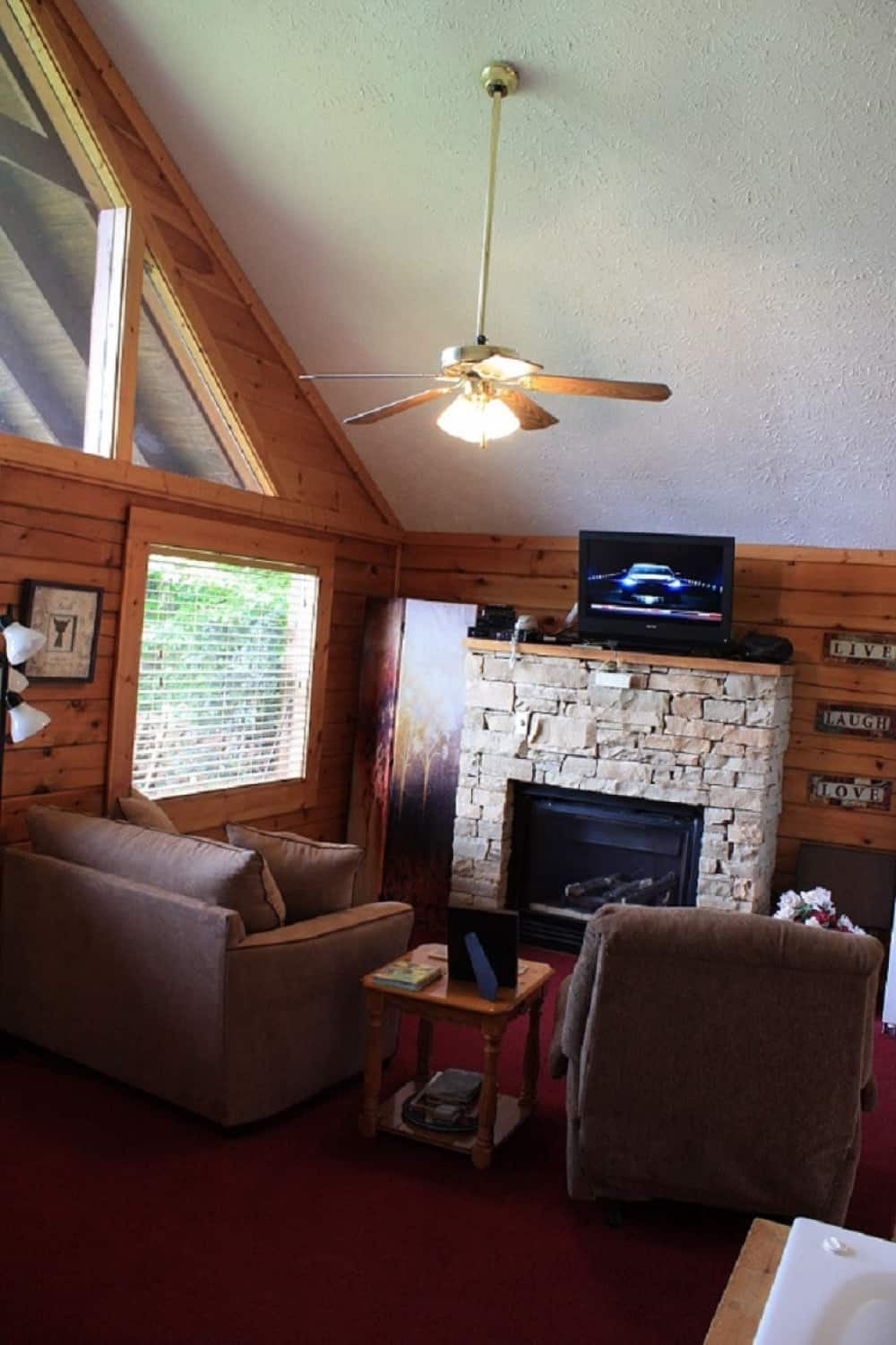 Gas Fireplace with Flat Screen on Cable