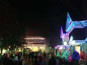 Glittering holiday lights at Dollywood's Smoky Mountain Christmas Festival.