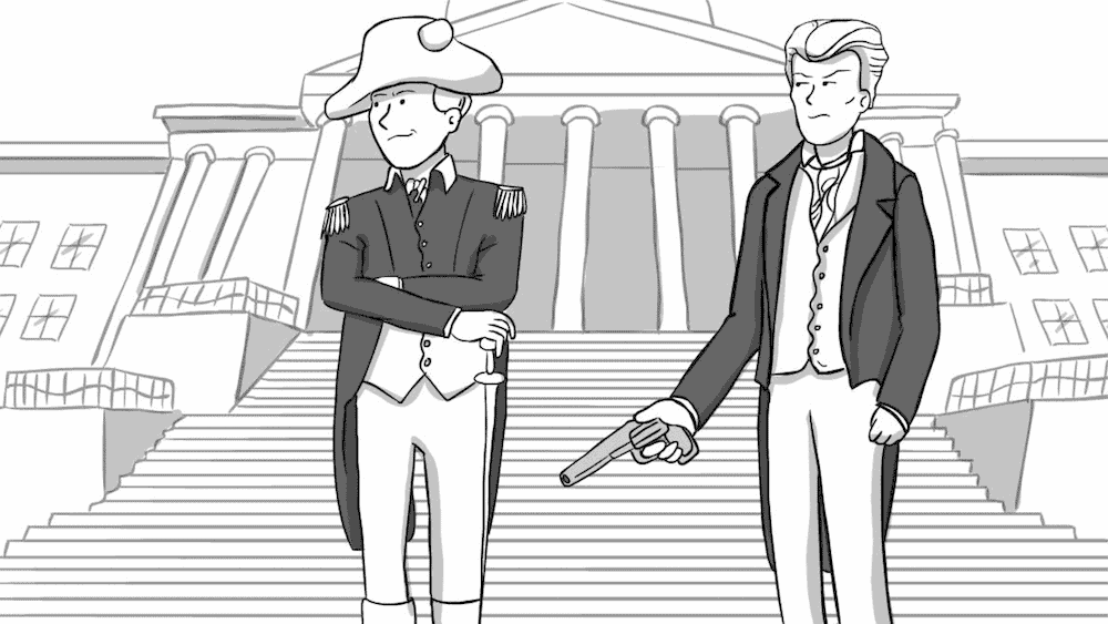 John Sevier and Andrew Jackson in front of a government building.