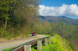 A car driving along Newfound Gap Road.