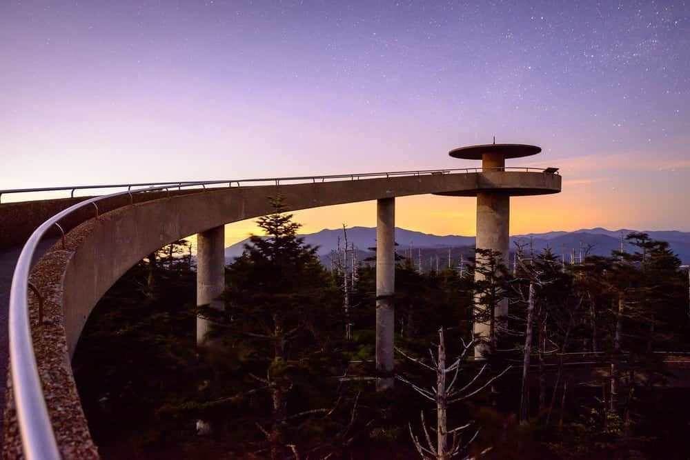 Clingmans Dome observation tower in the Smoky Mountains.