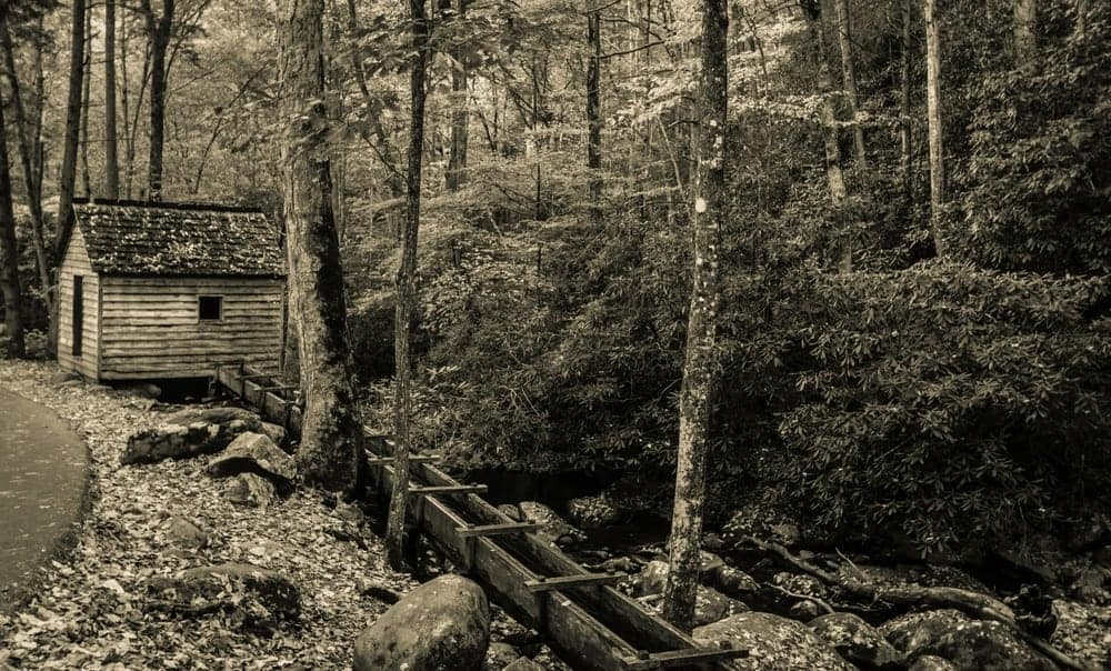 A historic mill along the Roaring Fork Motor Nature Trail in Gatlinburg.