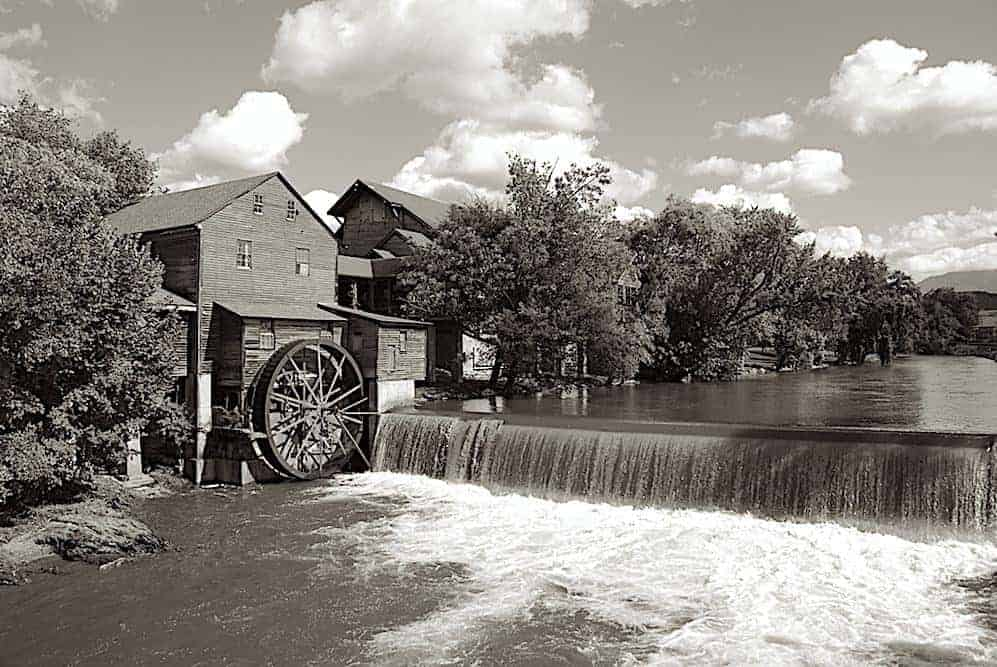 Black and white photo of The Old Mill in Pigeon Forge TN.