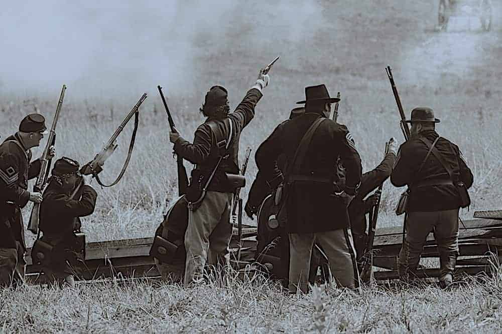 Reenactment of a battle from the Civil War.