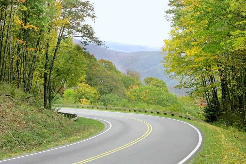 Beautiful winding road in the Smoky Mountains.