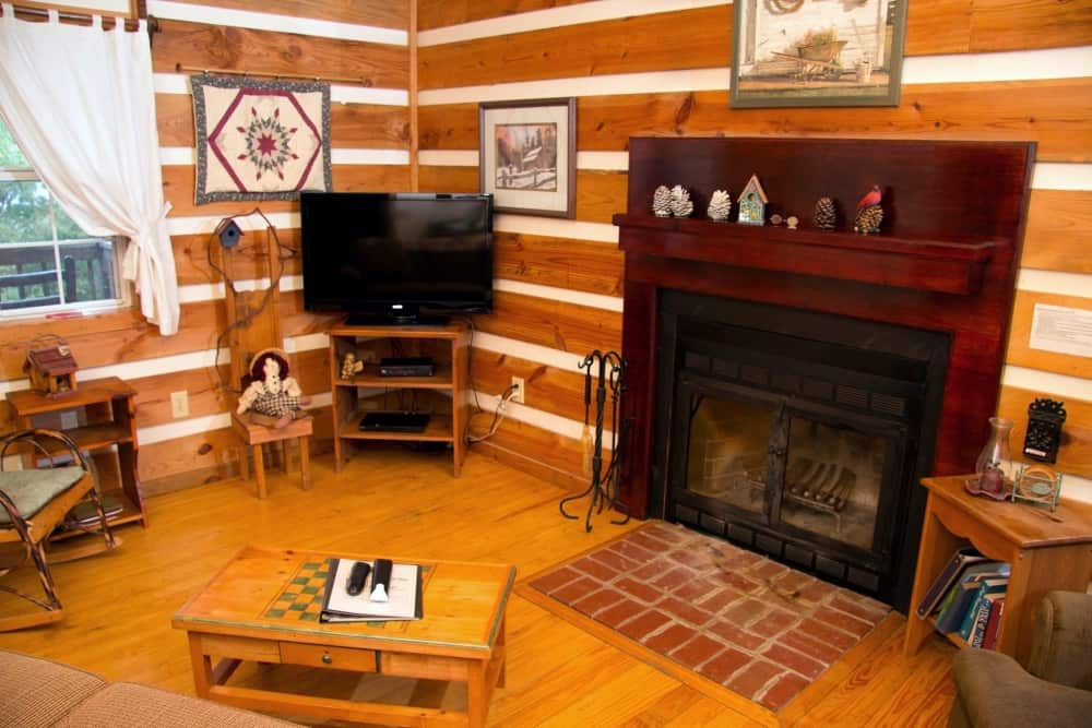 Living Room w Wood Burning Fireplace