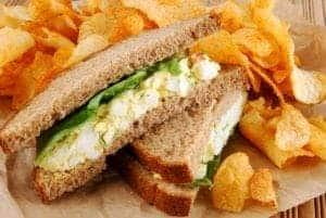 Delicious egg salad sandwich.