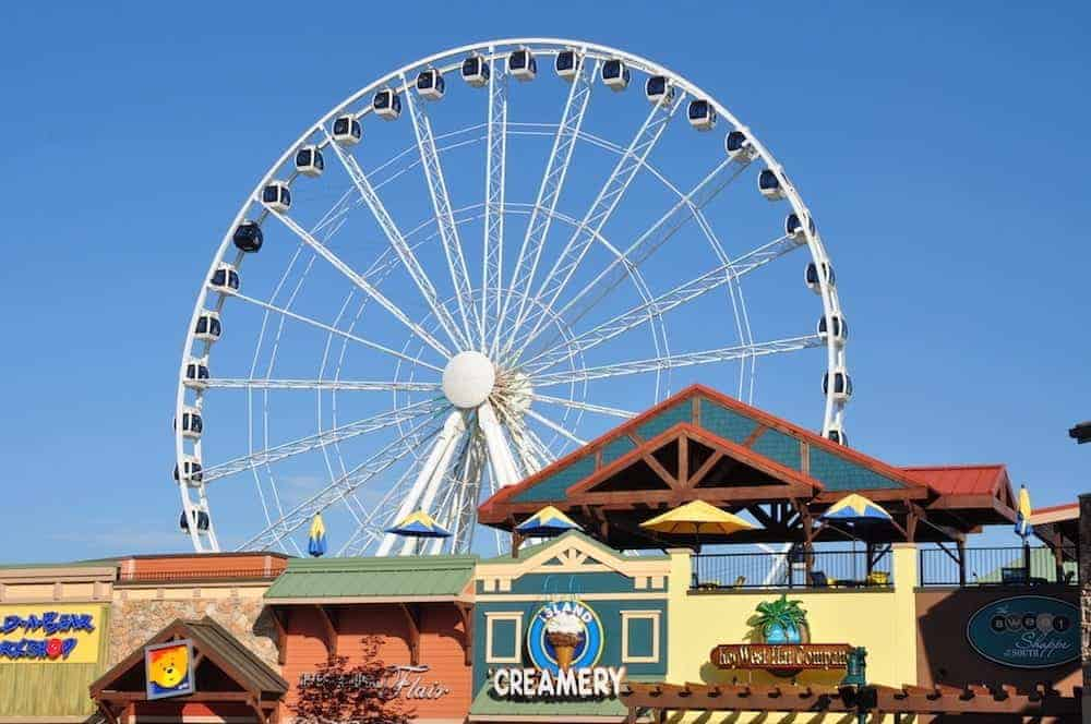 Ferris wheel and shops at The Island in Pigeon Forge.