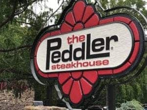 Sign for The Peddler Steakhouse in Gatlinburg TN.