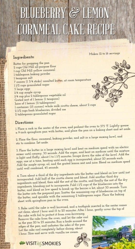 Blueberry and Lemon Cornmeal Cake Recipe from The Old Mill.