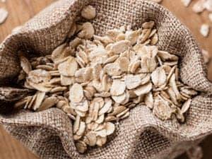 burlap sack of oatmeal