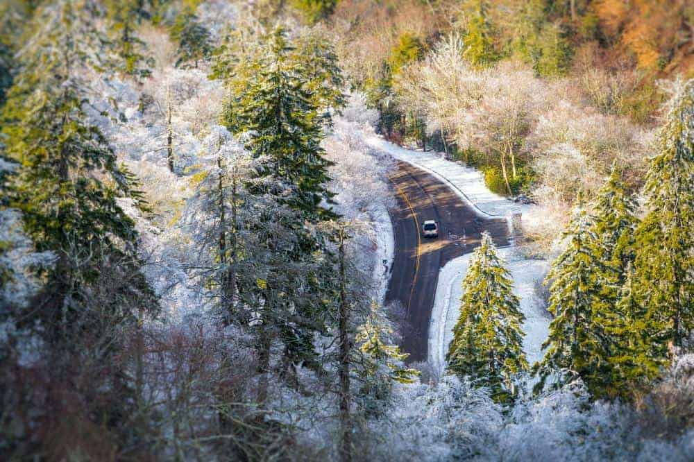 Car driving on Newfound Gap Road in the Winter