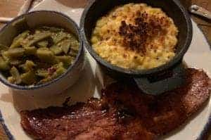 southern meal with ham, mac and cheese, and green beans