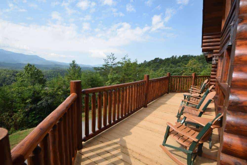 chairs on deck of pet friendly cabin in gatlinburg