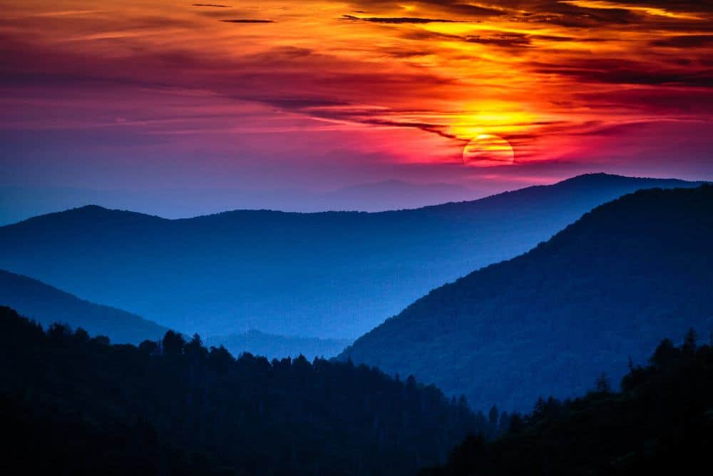 beautiful sunset in the smoky mountains