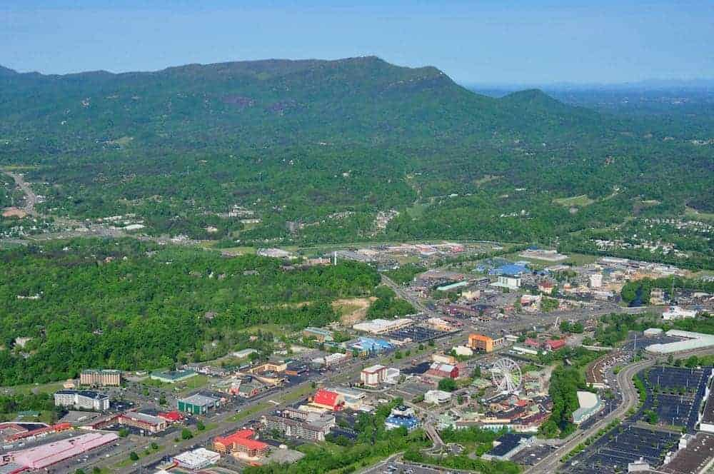 aerial view of Pigeon Forge Parkway
