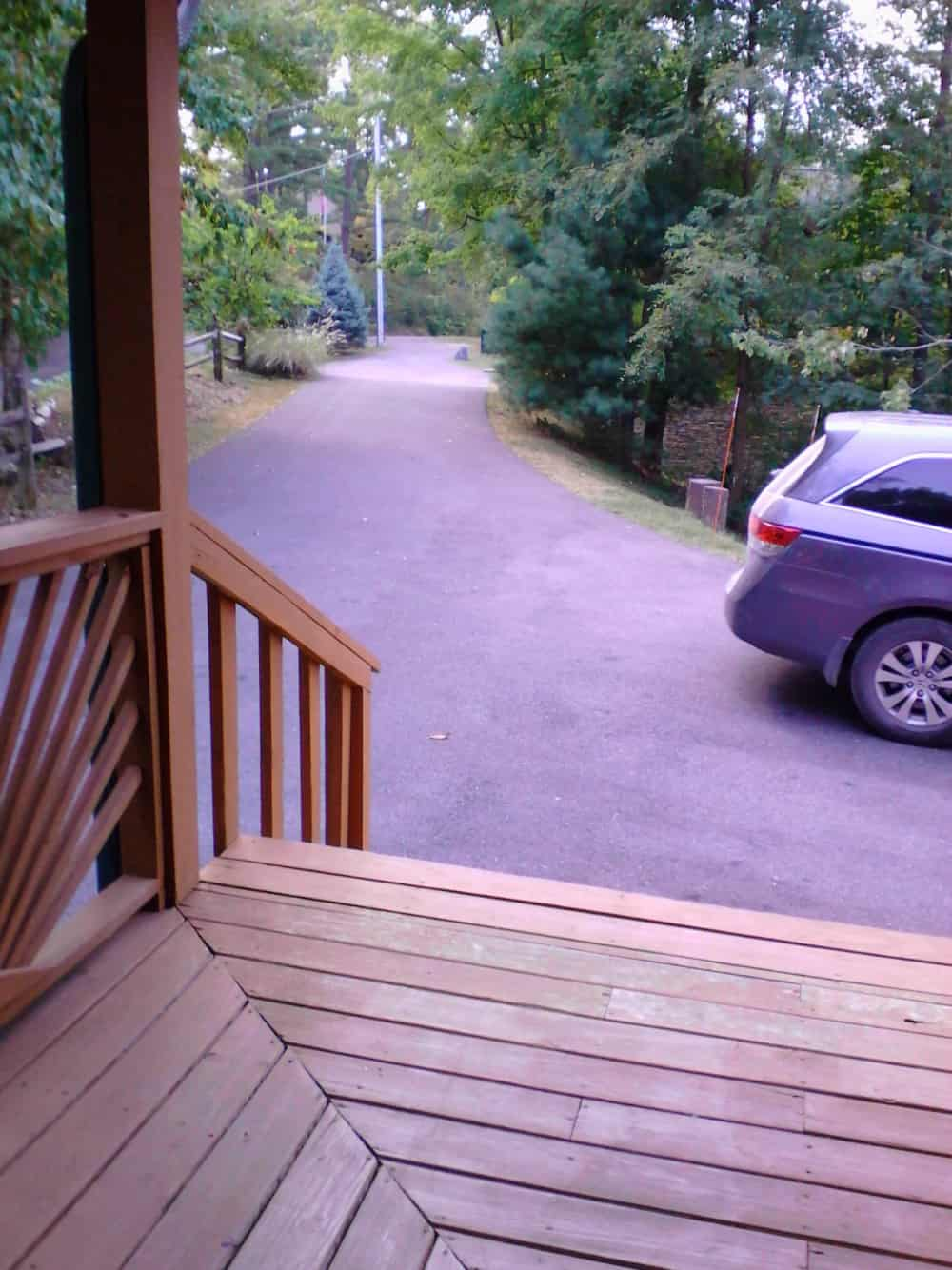Level driveway and parking area